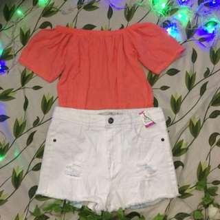Terno (Top & Denim Shorts)