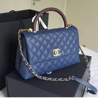 Chanel Navy Blue Lizard Handle