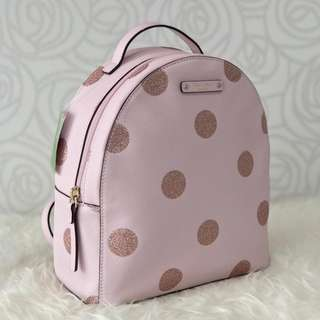 READY KATE SPADE Backpack Sammi pink Polka