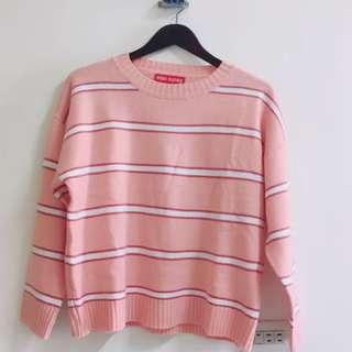 粉紅條紋針織毛衣 保暖