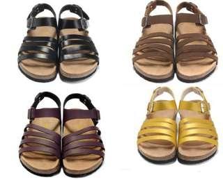 德國正品勃肯BIRKENSTOCK夏女涼鞋羅馬平底軟木女拖鞋沙灘鞋