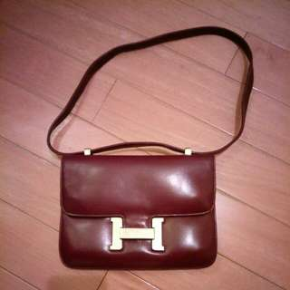 Similar Hermes Vintage Ox Blood Red Leather Handbag