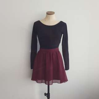 Burgundy Chiffon Circle Skirt