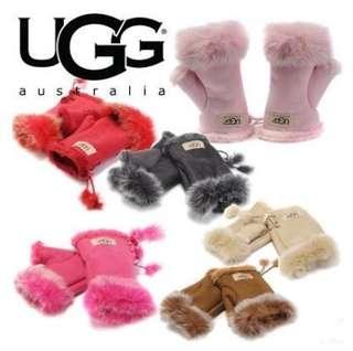 澳洲代購冬ugg手套羊皮毛一體女式半指露指韓版可愛真皮保暖手套 冬季戀上UGG章子怡同款保暖手套皮手套女手套