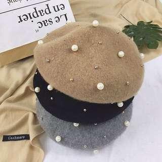 氣質百搭畫家帽復古珍珠羊毛立體南瓜帽