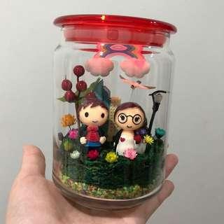 ❤️SALE!! Handmade Loving Wedding Young Couple Frozen Flowers Cute Terrarium Deco Glass Jar Pot