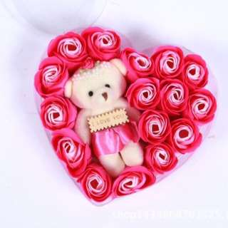 Valentines Gift PINK Flowers with Stuffed Toy on a Heart Case