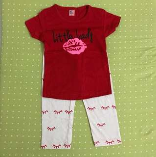 Shirt & Pants Little Lady Red