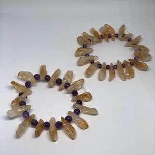黃晶,紫晶印第安手串