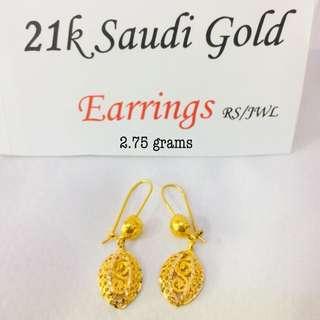 21k saudi gold earings 2,650 per gram