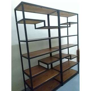 E104, PO - Retro/Loft/Industrial Solid Wood Display rack, Multi-levels Display Shelves, Display shelf, E