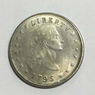 "30% OFF CNY SALE {Collectible Item - Vintage Coin} Vintage 1795 One Dollar Liberty United States Of America ""Flowing Hair Dollar"" Small Eagle"