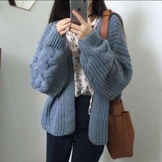 🚚 韓妞針織外套漂亮的灰藍色🐱❄