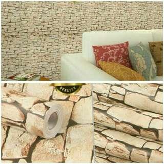 Wallpaper motif batu alam ukuran 45cmx10m