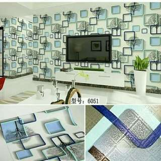 Wallpaper motif kotak 3D uk 45cmx10m