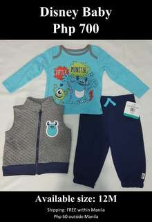 Disney Baby Boy's Monster Inc 3 Piece Vest, Bodysuit & Pant Set
