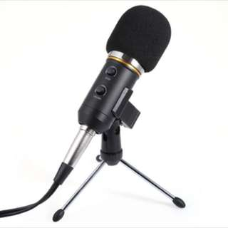 F200FL 3.5mm Audio Wired Sound Recording Condenser Microphone with Shock Mount Holder Clip