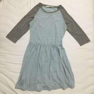 Atmos&Here Basic Blue Raglan 3/4 Sleeve Dress