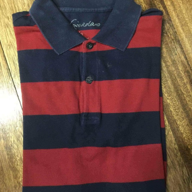 [3 for 1000] GIORDANO red and blue stripes polo shirt