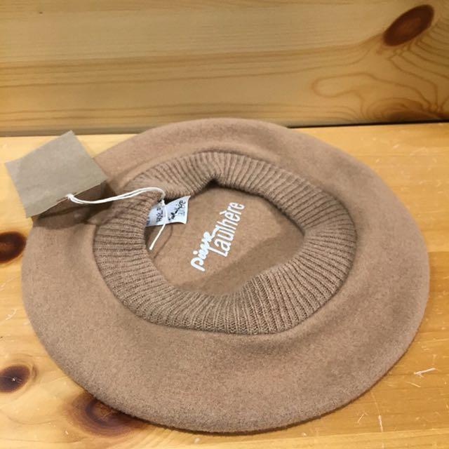 🇫🇷70s LAULHERE法國百年老牌奶茶色復古貝雷帽 法國製古董畫家帽 男女皆可Vintage 歐美帶回古著