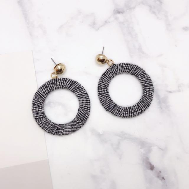 韓版質感格紋設計圓圈耳環