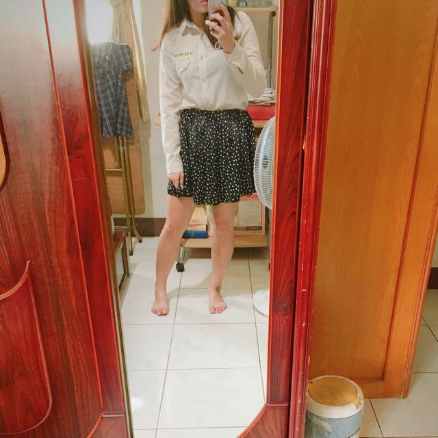 黑底小白圓點雪紡舒服褲裙