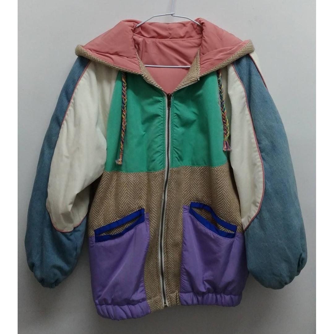 古著感繽紛配色拼接連帽鋪棉飛行外套