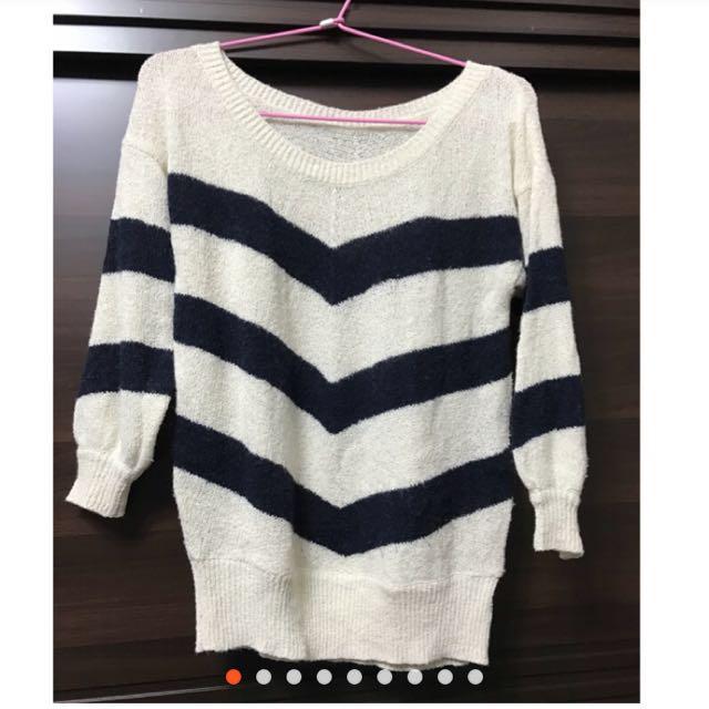 二手米白條紋針織毛衣