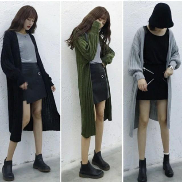 顯瘦針織外套/罩衫(綠/黑)