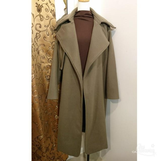 韓國簡約俐落翻領毛呢大衣外套