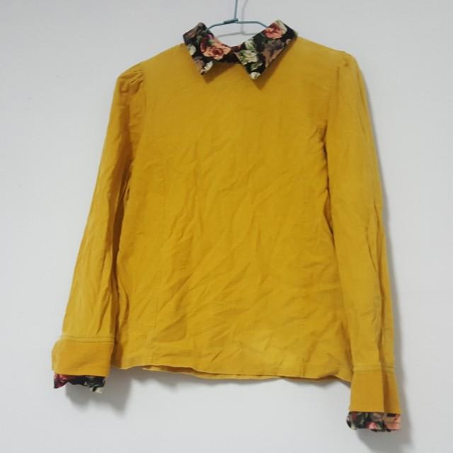 拼接花卉花布領.黃色燈心絨長袖上衣/襯衫.似假兩件