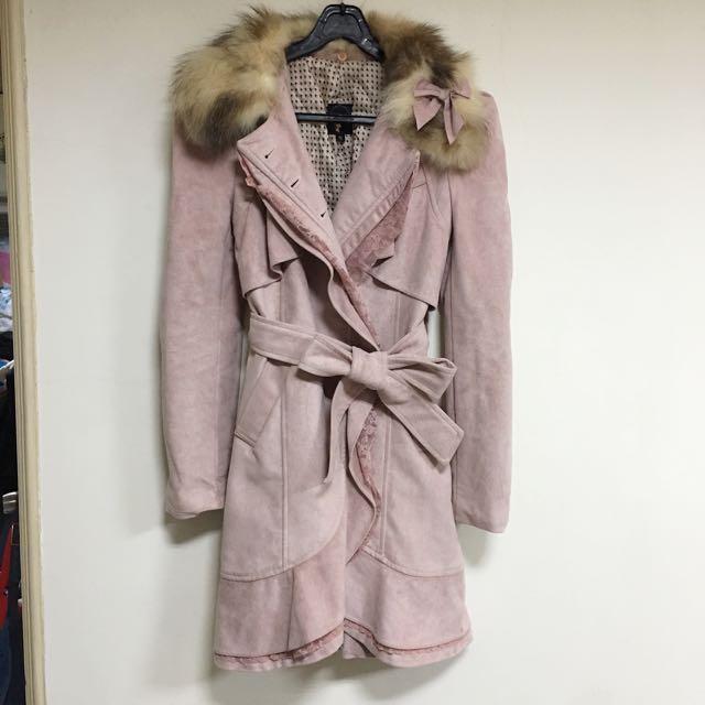 正韓全新毛領麂皮蕾絲綁帶大衣