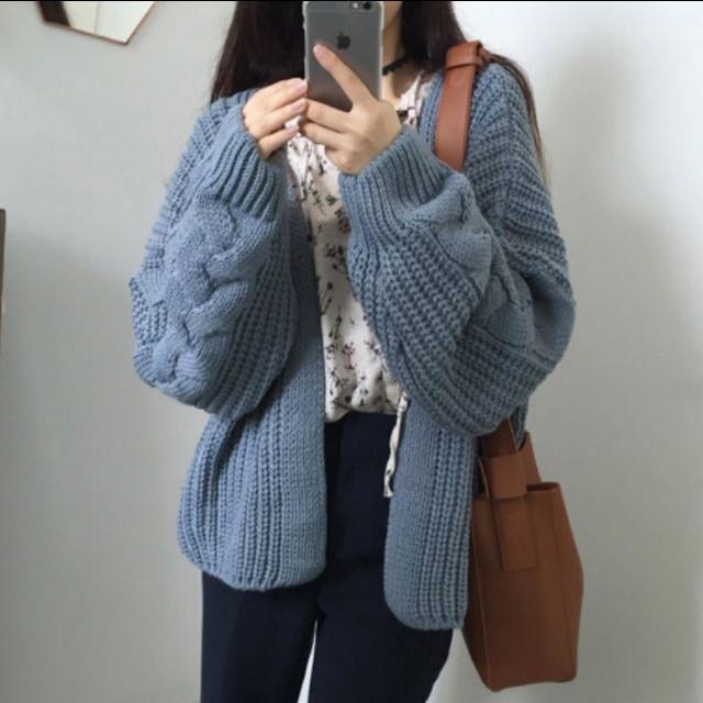 韓妞針織外套漂亮的灰藍色🐱❄