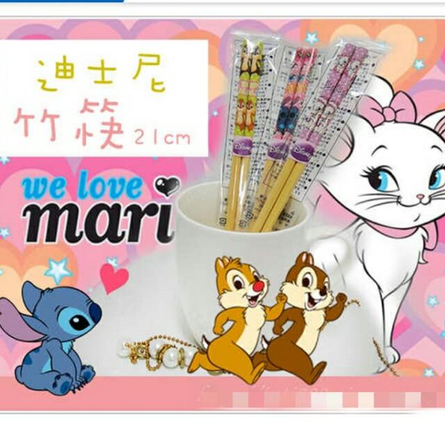 迪士尼  筷子21cm 奇奇蒂蒂 貓咪 史迪奇