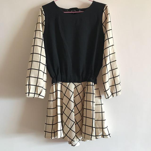 正韓 格紋洋裝