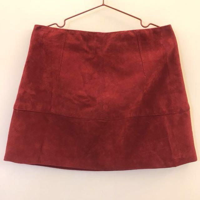 深紅色 麂皮皮裙