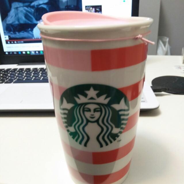 星巴克 雙色條紋 咖啡馬克杯