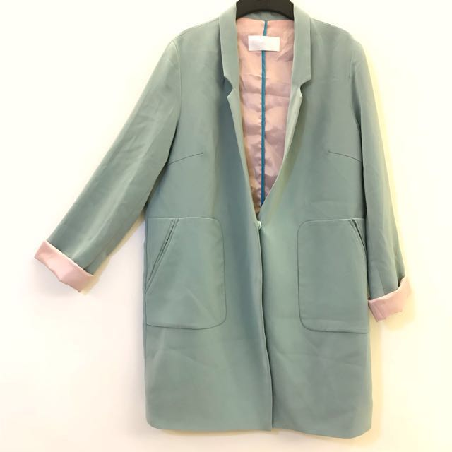 粉綠色 長版 長袖外套