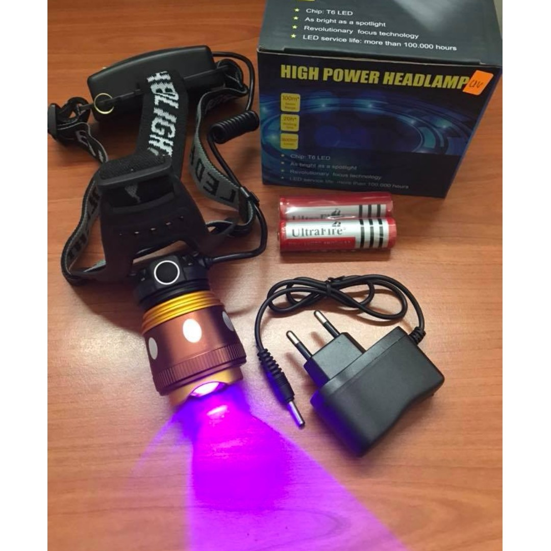 🔥 Fishing Memancing UV 2in1 Headlamp XML-T6 LED 800lm> Rechargeable Super Bright Power
