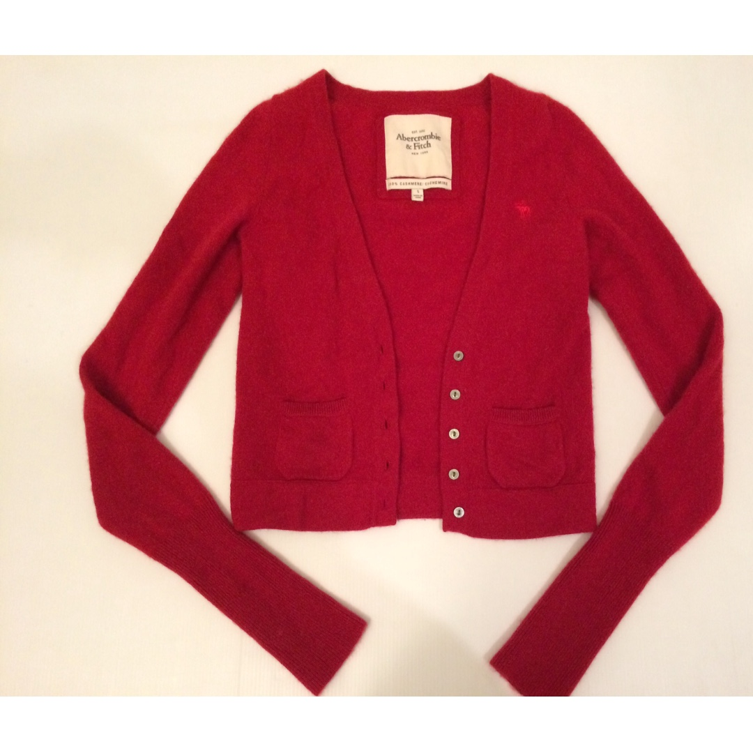 ABERCROMBIE **100% Cashmere** Red Cardigan - Size Small
