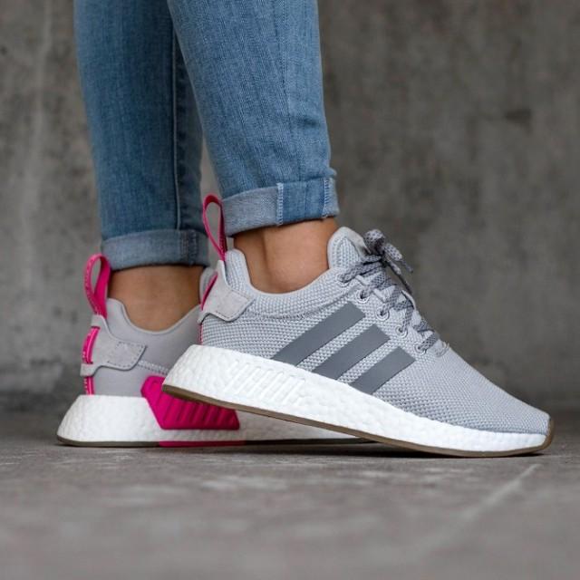 Adidas NMD R2 PK gris dos choque rosa, Moda Mujer, zapatos