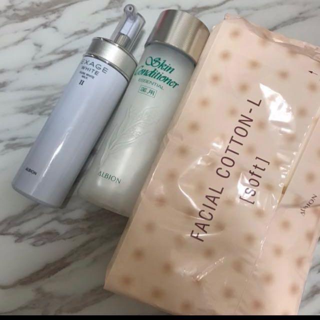 整組albion一起售 健康化妝水 滲透乳 化妝棉 原價5400組合價值