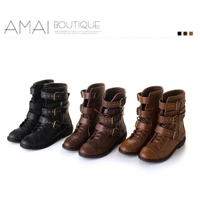 AMAI俐落澎澎車線金屬扣皮帶中筒軍靴