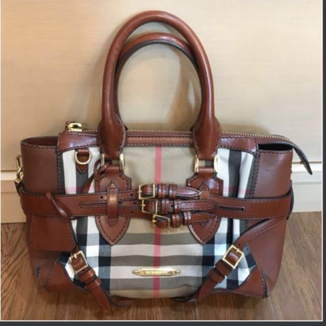 ba27bd8a0154 Authentic BURBERRY Classic Bridle House Check Collection Gladstone Handbag  + Dustbag