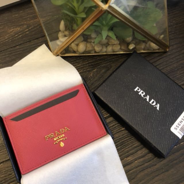 Authentic Prada card holder in pink
