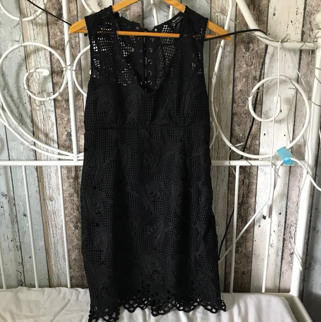 Bardot Black Lace up V neck Dress size 12