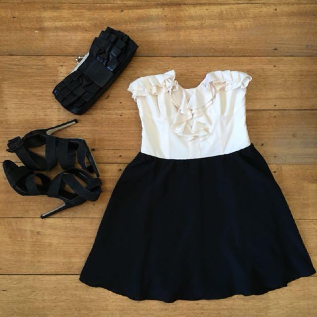Bardot cocktail dress black and white size 10