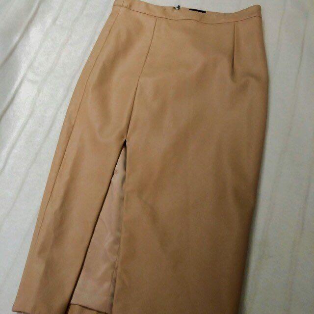 Bardot Nude Fake Leather Midi Skirt