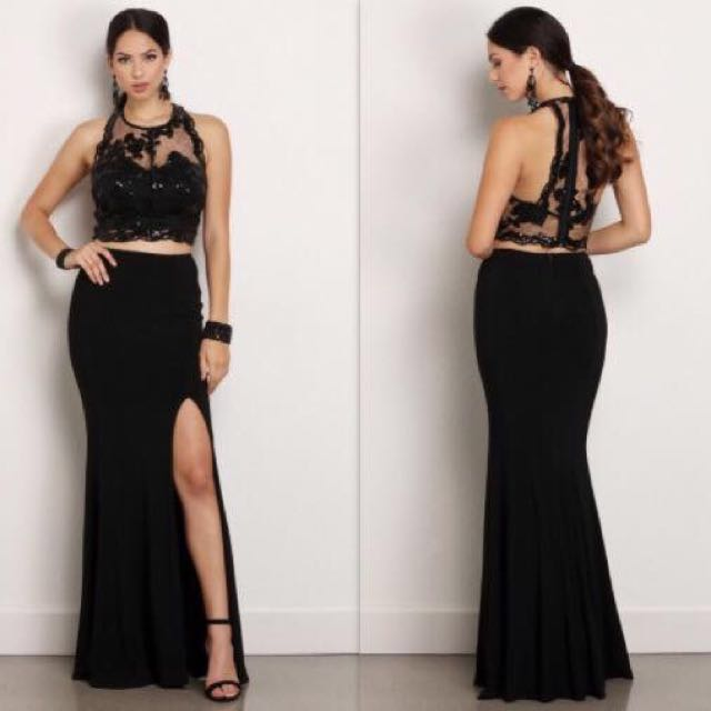 Black Two Piece Formal/prom Dress, Black Lace Sequinned Top