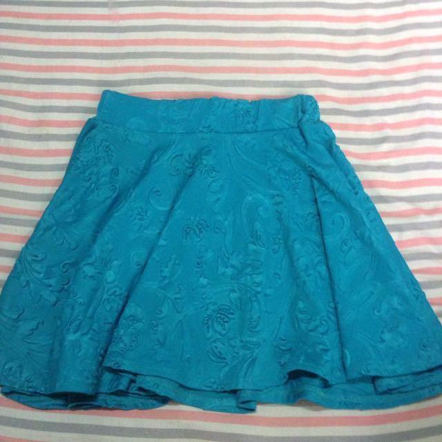 Blue Floral Skater Skirt